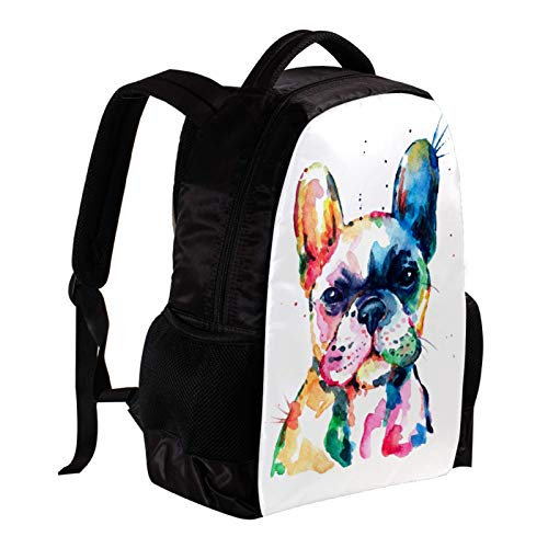 Backpack for Girls Kids Boys Teens Frenchie French Bulldog Watercolor Funny Lightweight Bookbag School Bag Laptop Bags Travel Hiking Camping Daypack