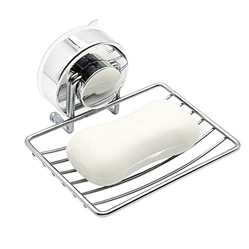 Jabonera para colgar en la pared, adhesivo de soporte de jabón de acero inoxidable con ventosa súper potente sin perforación para ducha, baño y cocina