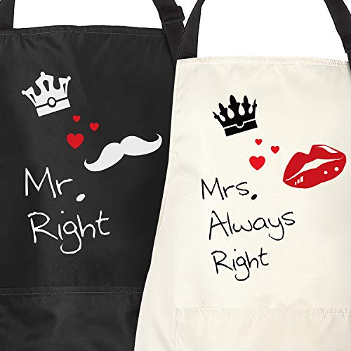 Mr. Right & Mrs. Always Right - Couple Aprons Funny Apron for Sweet Couple with 2 Pockets Adjustable Neck Strap Perfect for Newly Married Couple and Valentine's Day