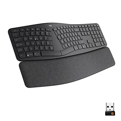 Logitech ERGO K860 Wireless Split Keyboard - Tastiera Ergonomica Wireless, Poggiapolsi, Connettività Bluetooth e USB, Compatibile con Windows e Mac, Layout Italiano QWERTY - Grigio