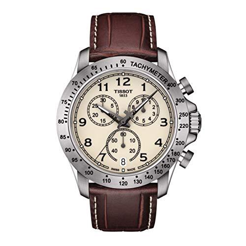 TISSOT Herren Chronograph Quarz Uhr mit Leder Armband T1064171626200