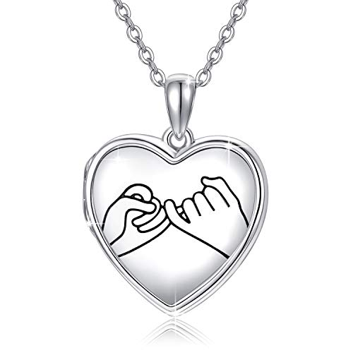 Sterling Silver Locket Necklace That Holds Pictures Promise Heart Locket Pendant Gift for Women Girl Always in My Heart Photo Lockets Keepsake