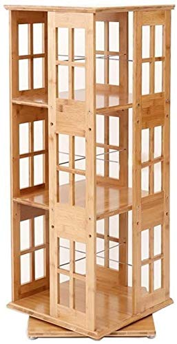 Estantería Vintage de bambú, estantería giratoria de Tres Capas, Sala de Estar, Piso, Almacenamiento de Oficina, estantería, Soporte de exhibición 95x37x37cm Uptodate