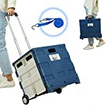 Giant Box Deluxe Collapsible Folding Handcart with Sturdy Lid and Elastic Strap (Blue)