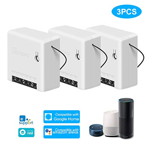 Sonoff Mini 3PCS Interruttore WiFi Fai-da-Te Smart Switch Piccolo Corpo Telecomando Interruttore WiFi Supporto Interruttore Esterno Funziona con Google Home/Nest IFTTT e Alexa