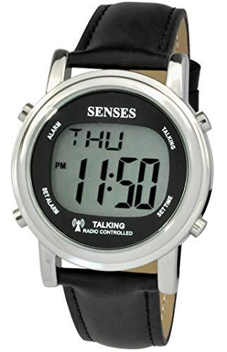 Reloj Digital inglés de Gran dígitos atómico con Alarma Fuerte para Personas con discapacidad Visual, ancianas o ciegas por 5 sensores (1020C)