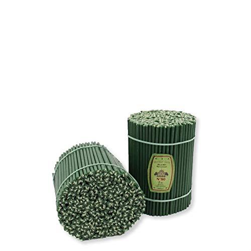 Diveevo - 400 velas de cera de abeja con aroma de miel, color verde, 185 mm de largo, 6,1 mm de diámetro, tiempo de combustión: 1 hora