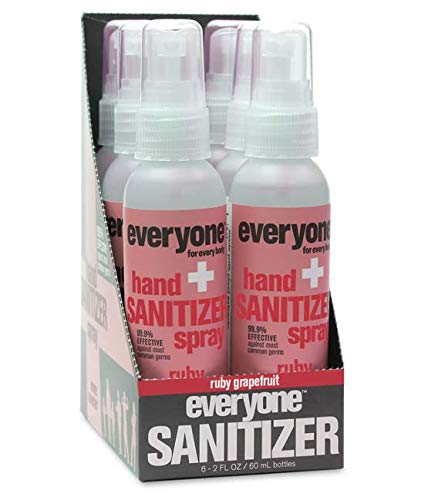 Everyone Hand Sanitizer Spray: Ruby Grapefruit, 2 Ounce, 6 Count