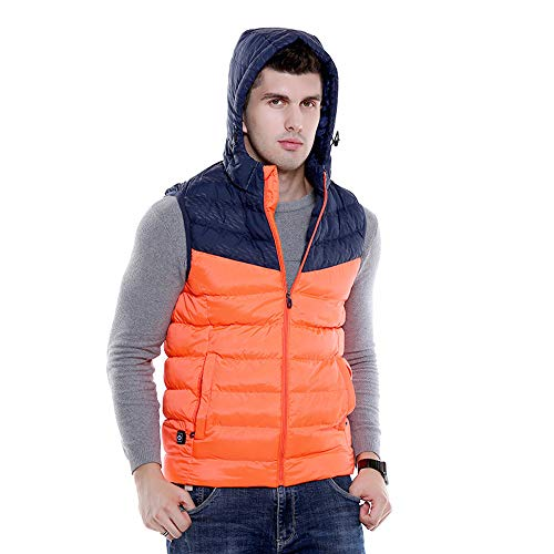 Roboraty Verwarmd vest voor de winter, elektrische verwarming, outdoor, wandelen, jacht, kamperen, infraroodverwarming, warm vest, met USB-interface, voor mannen verwarmd vest XX-Large oranje