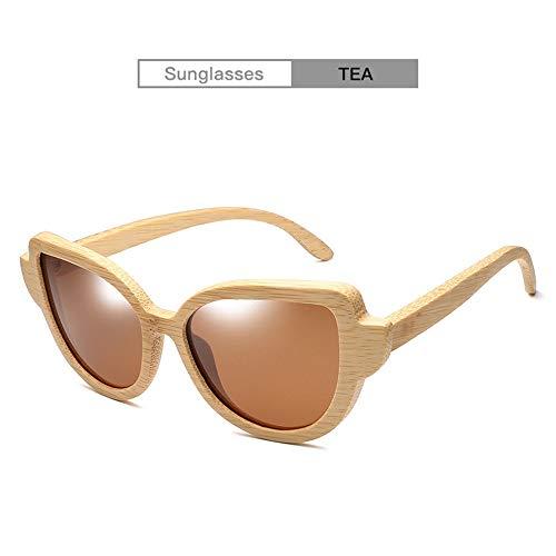 Glasses para Mujer Uv400 Hecho a Mano de Madera Gafas de Sol polarizadas de Madera Mujer Ojo de Gato Gafas de Madera (Color : Brown)