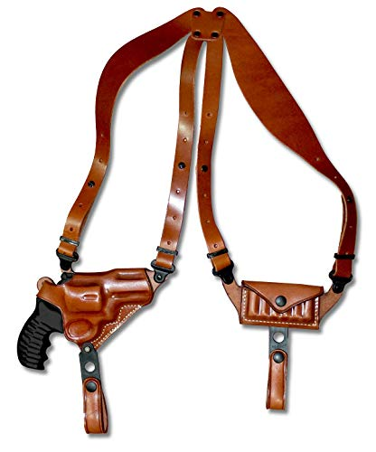 "Premium Leather Horizontal Shoulder Holster System with Bullet Carrier for Taurus PT85 M85 38 Special Revolver 2"" BBL, Right Hand, Draw Brown Color #1061#"