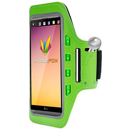 Mobilefox Handytasche Sport Armband mit LED-Licht & Schlüsselfach Sweatproof für 6,0 Zoll LG K8 Grün - Joggen Schutzhülle Smartphone Halter