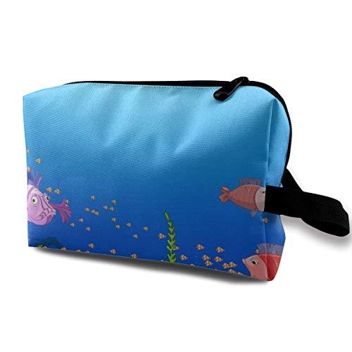 Kosmetiktasche Tragbare Handtasche Schöne Ocean Underwater World Psd Make-up Pinselhalter Kosmetik Aufbewahrungsorganisator für Geldbörse oder Reisen