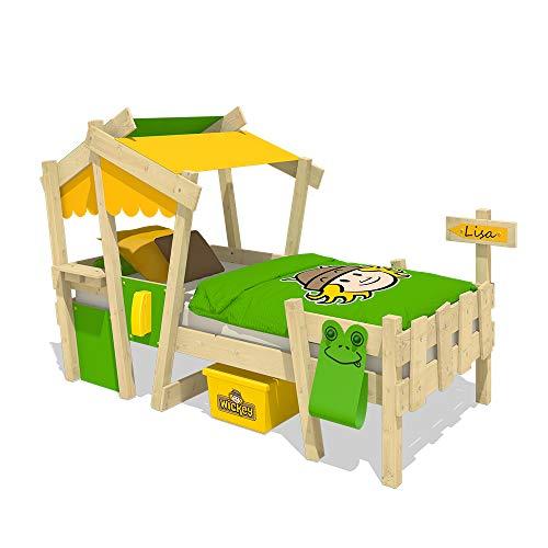 WICKEY Cuna CrAzY Candy Cama para niños Cama infantil 90x200cm con somier de madera, amarillo-azul