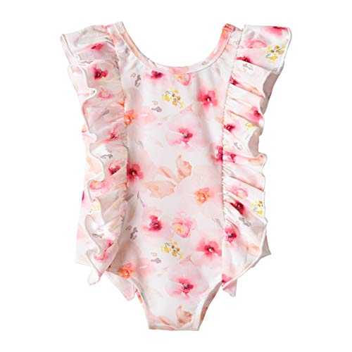 Toddler Girl Swimsuit, Kids Baby Girls One Piece Swimsuit Ruffle Floral Swimwear Bathing Suits Beach Wear (Pink, 18-24 Months)