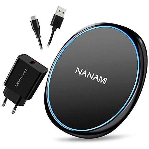 NANAMI Wireless Charger mit Quick Charge 3.0 Adapter, 10W Schnelles Drahtloses Ladegerät für Samsung Galaxy S21/20/10/9 Note 10, 7.5W Qi Ladegerät für iPhone 12/11/X/XS/XS Max/XR/8/8 Plus Neue Airpods