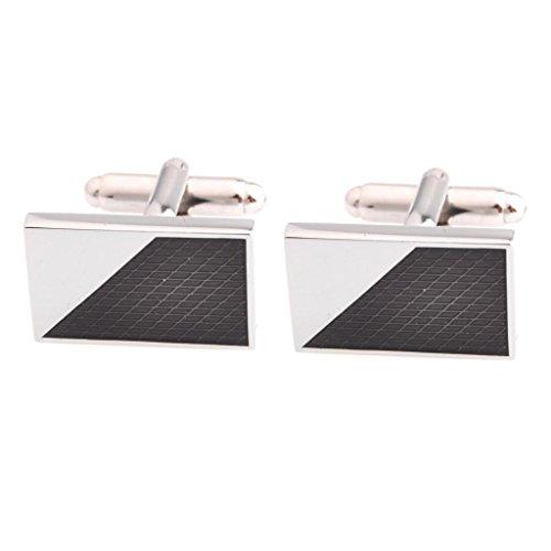 Price comparison product image The Smart Man Men's Classic Black Enamel Rectangle Cufflinks