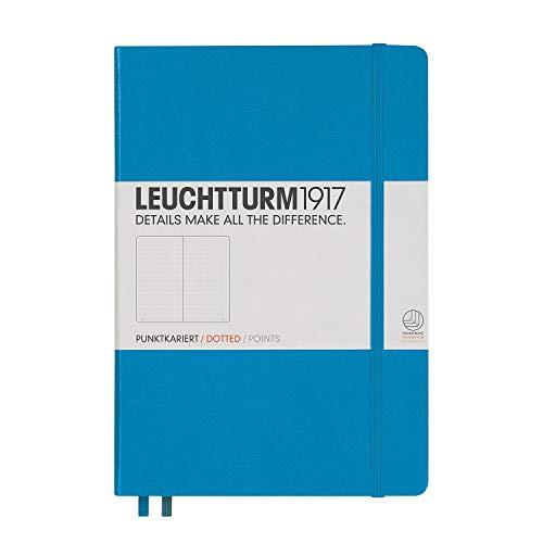LEUCHTTURM1917 (346695) Carnet Medium (A5) couverture rigide, 249 pages numérotées, pointillés, azur