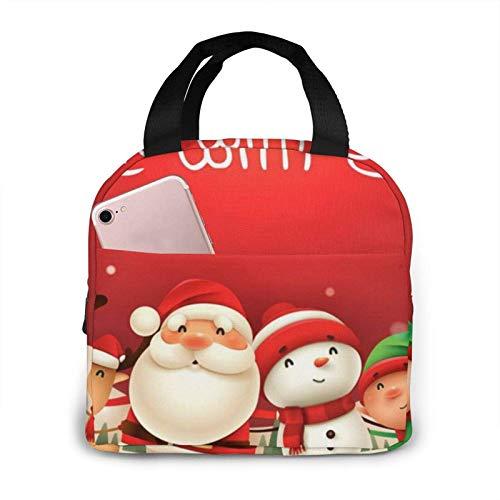 Hdadwy Skate With Santa Lunch Bag Tote Bag Lunch Box Recipiente de almuerzo aislado para mujer Hombre