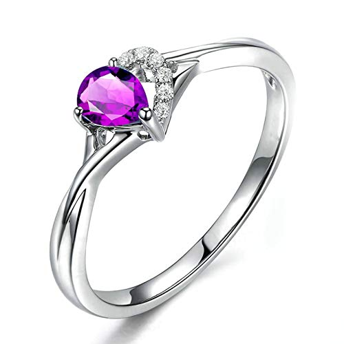 Bishilin 925 Sterling Silver Ring Engagement Ring for Girlfriend Comfort Fit Friendship Rings Purple Pear Cristal Gemstone Birthstone Anniversary Engagement Wedding Band Ring Silver Size: P 1/2