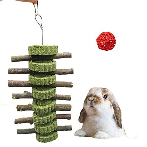 Houdao Juguetes para Conejos Enanos Mantener Saludable Juguetes CobayasNatural Manzana Palos de Madera y Hierba Bola Ramas Molar para Conejos Chinchillas Hámsters Cobayas