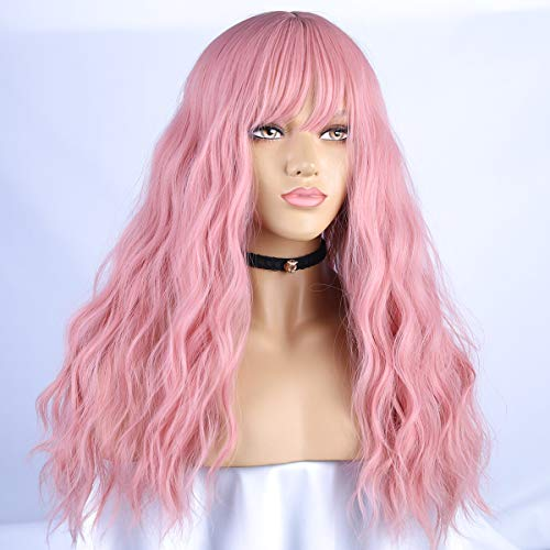 BLSWANER Pink Wig Long Wavy with Air Bangs Synthetic Hair Long Curly Natural Wavy Soft Full Wigs for Women