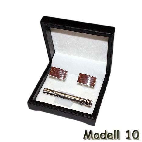 Manschettenknöpfe Kravattennadel Set Edelstahl silber gold matt glänzend Hemd, Modell:Modell 10