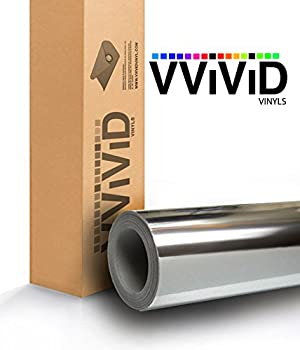 VViViD Silver Mirror Chrome Cast Vinyl Wrap Self-Adhesive Film Decal Air-Release Bubble and Air Free 3mil  1.5ft x 5ft