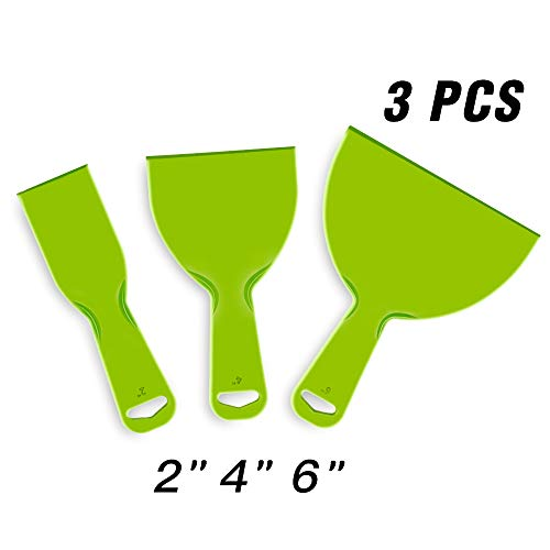URTOYPIA Plastic Putty Knife Set Green Flexible Scraper Tool for Decals, Wallpaper, Baking,Wall and Car Putty (3-PACK)