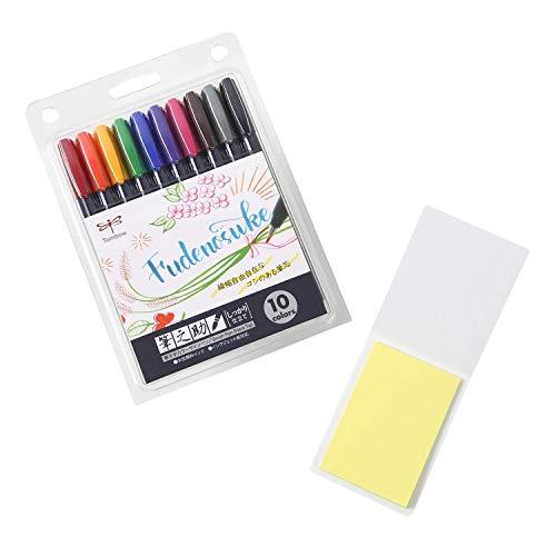 Tombow Fudenosuke Juego de 10 colores, WS-BH10C (versión japonesa) con notas adhesivas originales. Rotuladores de punta dura Fudenosuke Fude en colores surtidos para caligrafía y dibujos artísticos