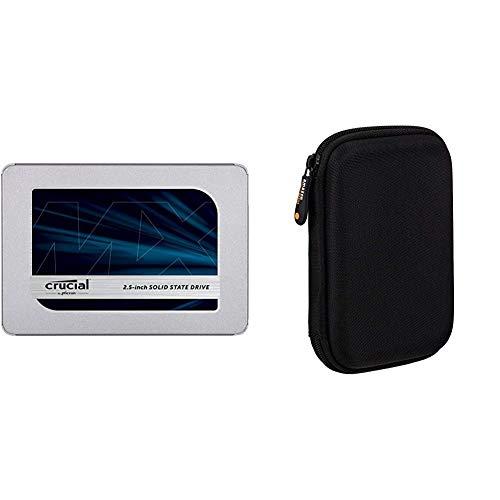 Crucial 2To CT2000MX500SSD1(Z) SSD Interne MX500-jusqu'à 560 Mo/s (3D NAND, SATA, 2,5 Pouces) & Amazon Basics Étui pour Disque Dur Externe