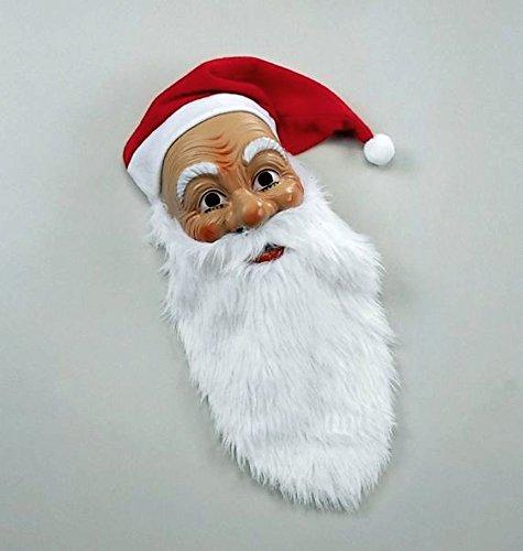 Amakando Nikolausmaske mit Rauschebart und Mütze Nikolaus Maske Weihnachtsmannmaske Weihnachtsmann Maske Faschingsmaske Karnevalsmaske Weihnachtsmaske Santa Claus