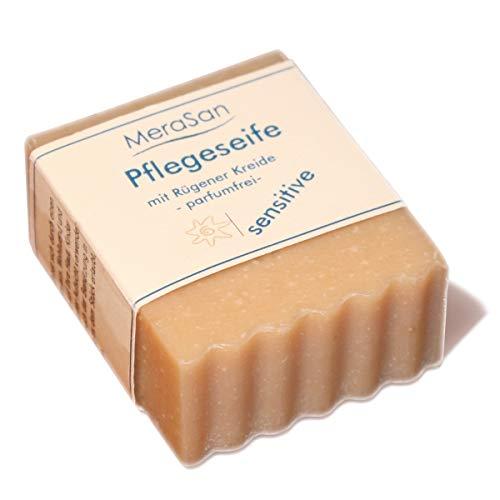 MeraSan Pflegeseife SENSITIVE parfümfrei - Naturkosmetik Kreide-Seife am Block mit Ziegenmilch, Olivenöl, Kokosnussöl, Mandelöl, Kakaobutter und Rügener Heilkreide - 60g