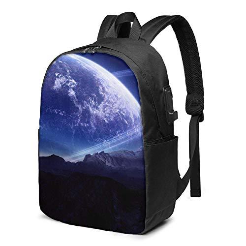 IUBBKI Creative Moon Laptop Backpack with USB Charging Port 17 Inch Travel Computer Backpacks for Women Men School College Bookbag