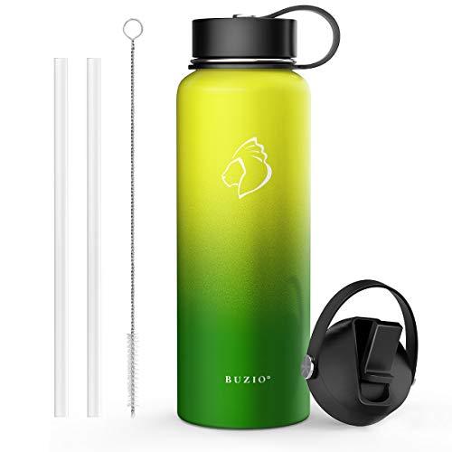 2576/5000 BUZIO roestvrijstalen waterfles (48 uur koud, 24 uur warm), vacuüm geïsoleerde fles van 1000 ml met roldeksel en flexibele dop, neon (dubbele wand, brede mond, BPA-vrij, lekvrij, zweetvrij)