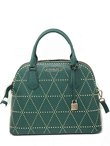 """Dome satchel with top zip closure Dual handles with 5"""" drop & detachable, adjustable strap with 22"""" drop 3 compartments with middle zipper section 2 outer section an front and back with snap button closure Interior 1 zipper & 5 slip pockets - Gold To..."""