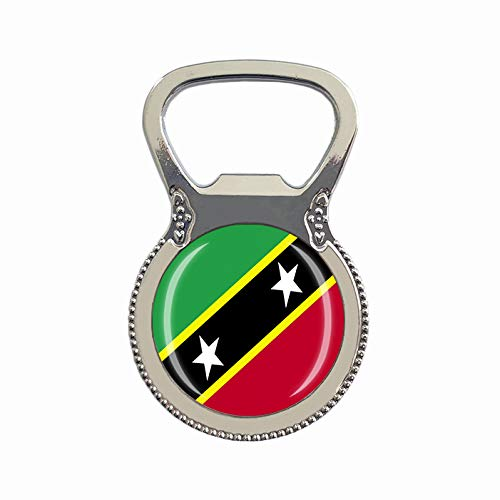 Saint Kitts & Nevis Flagge Bierflaschenöffner Kühlschrank Magnet Metall Glas Kristall Reise Souvenir Geschenk Heimdekoration