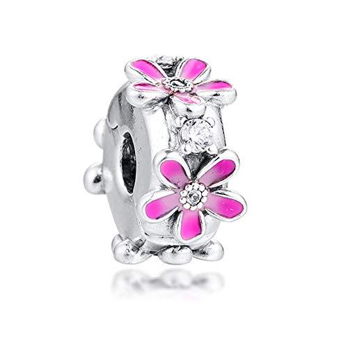 Pandora 925 Colgante De Plata De Ley DIY Qandocci Se adapta A Pulseras Rosa Margarita Flor Clip Perlas Pulseras Joyería Charms