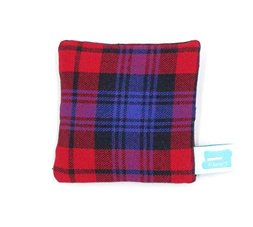Handwärmer wiederverwendbar, 10cm x 10cm, Rapskissen, Kältekissen, Flanell Schottenkaro Rot