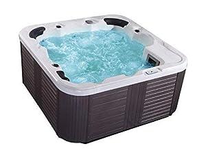 immagine di Outdoor Whirlpool Hot Tub Venezia Colore Bianco con 44 Massaggio Ugelli+Riscaldamento+Disinfezione Ozono + LED Illuminazione per 5 - 6 Persone per Giardino/Terrazza Esterno/