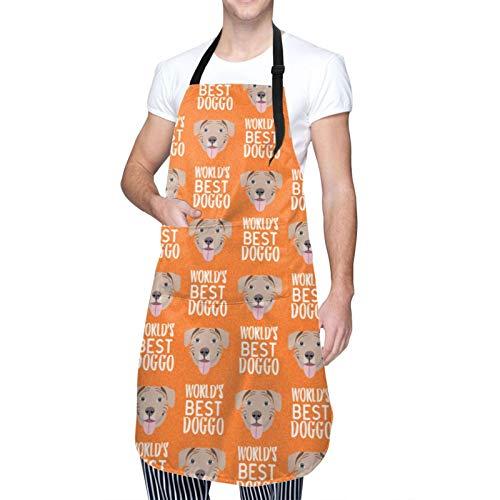 Ccycjasdkfewl Worlds Doggo Fawn – Fawn Pit Bull – Perro – Delantal naranja con bolsillos babero impermeable delantal de cocina para correas de cuello ajustables delantales de hombre para todo el mundo