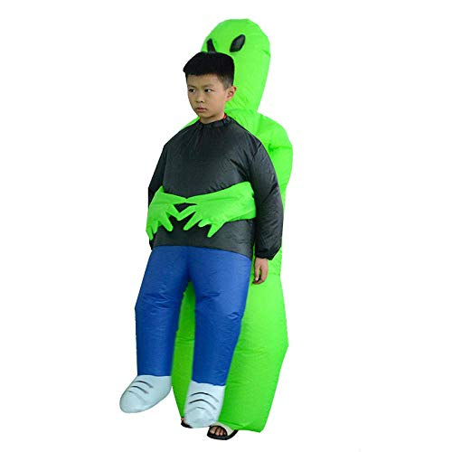 Traje inflable inflable del traje del partido del traje verde ET, Llevar Traje humano inflable divertido Blow Up Traje de Cosplay del traje de Cosplay Fancy Dress Party regalo for el cabrito 80-120cm