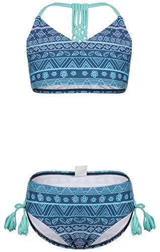DUSISHIDAN Girls Swimsuits, High Waisted Bikini Set, Gradient Blue Floral Printed,Side Tie Haltered Bathing Suits, Size 14-16