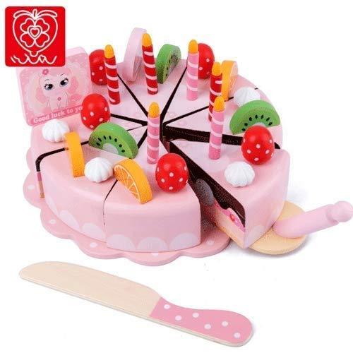 Raelf Pastel de Fruta para niños Pastel de Frutas de Madera para niños, Emulation Pastel Food Pretend Juguete para niños, Pastel de cumpleaños o Té de té de la Tarde Juguete con Velas extraíbles para