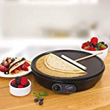 Netagon Traditional 1000W Electric Pancake, Omelettes, Flatbread & Crepe Maker 12' Hot Plate Pan Machine and Utensils - Black