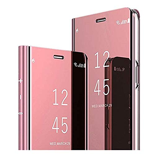 Clear View Standing Cover für das Samsung Galaxy A9 2018, Samsung Galaxy A9 2018 Spiegel Handyhülle Schutzhülle Flip Cover Schutz Tasche mit Standfunktion 360 Grad hülle für A9 2018 (Rose Gold)