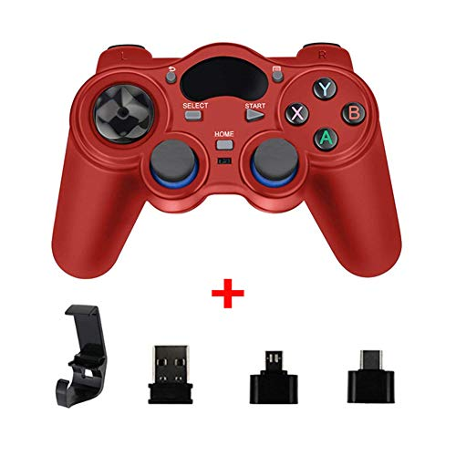 XLNB 2.4g Controller Gamepad Android Joystick Inalámbrico Joypad con Convertidor OTG para Ps3 / Teléfono Inteligente para Tablet Pc Smart TV Box,Rojo