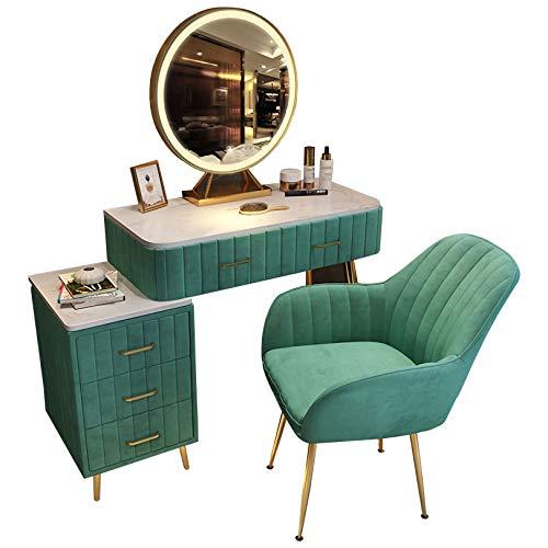 GSH Frisiertisch Schlafzimmer Mini Schminktisch Set, Kosmetikschrank, mit dreifarbigen LED-Spiegel und 5 Schubladen Mädchen grün Schminktisch 80cm