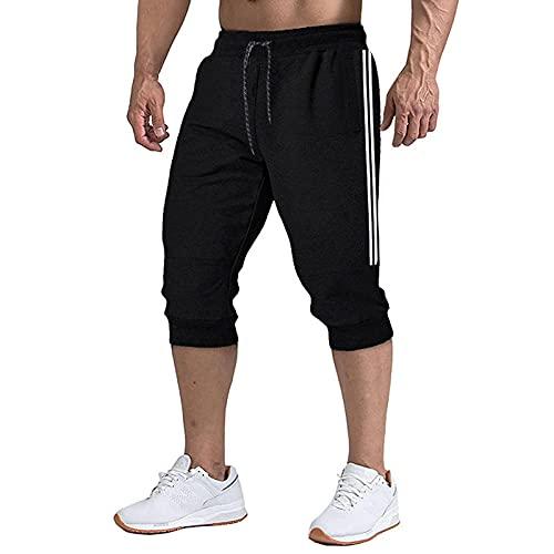 2021 nuevos Pantalones Cortos Cortos de Verano para Hombre, Pantalones Cortos Transpirables de Moda Informal para Hombre, Pantalones Cortos de algodón, Moda para Hombre,Jogging para Hombre-Black_L