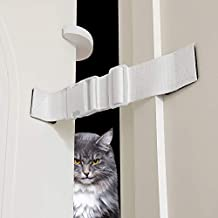 2 Packs Adjustable Dog Proof Door Strap Latch Lock with Door Stopper, Reusable Cat Door Strap, Keep Dog Out of Litter Box Room and Cat Feeder, Install On Door Frame Only Without Damage (White)